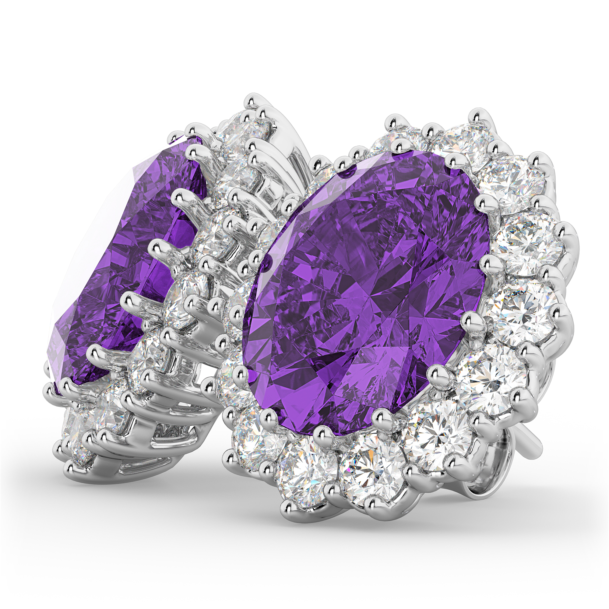 oval amethyst amp diamond accented earrings 14k white gold