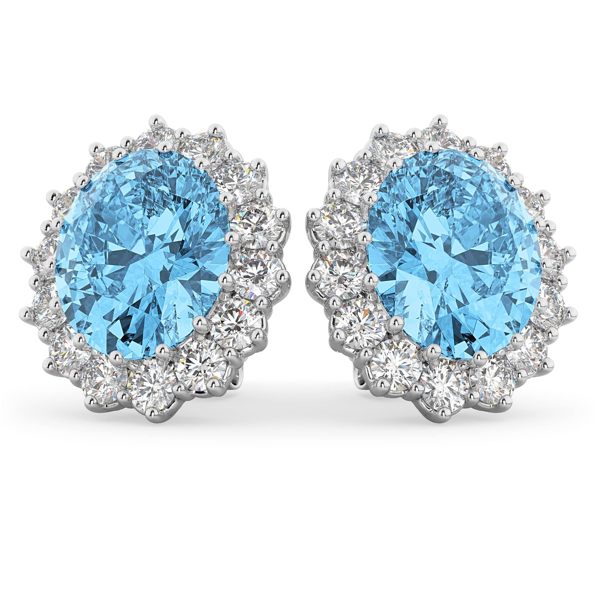 Oval Blue Topaz & Diamond Accented Earrings 14k White Gold (10.80ctw)