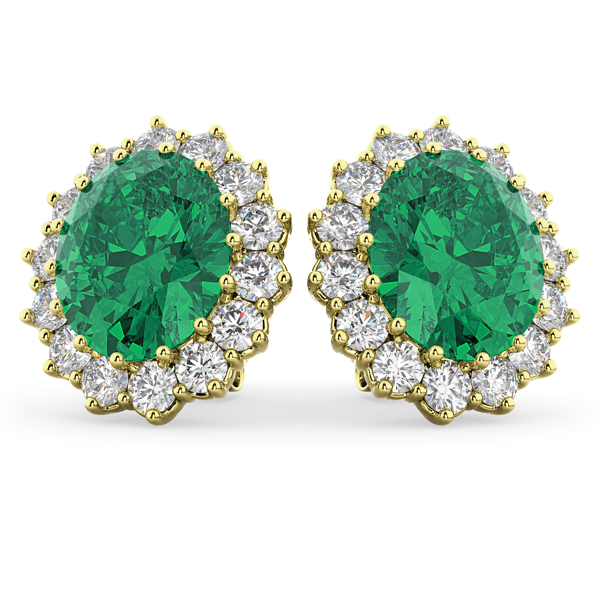 Oval Emerald And Diamond Earrings 14k Yellow Gold (10