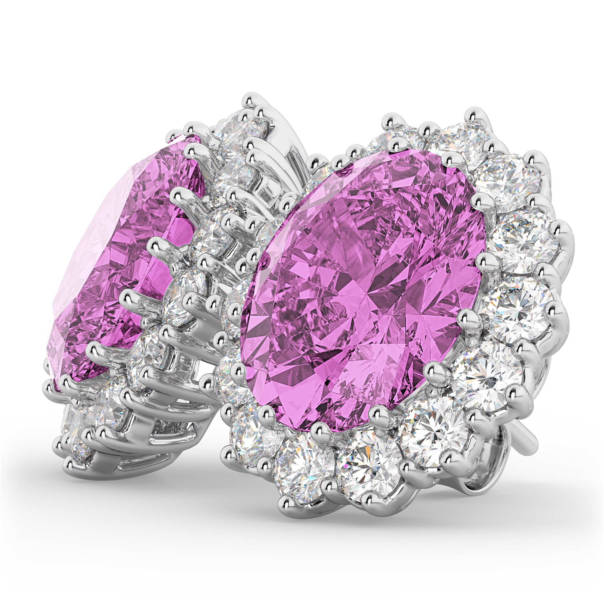 Oval Pink Sapphire & Diamond Accented Earrings 14k White ...