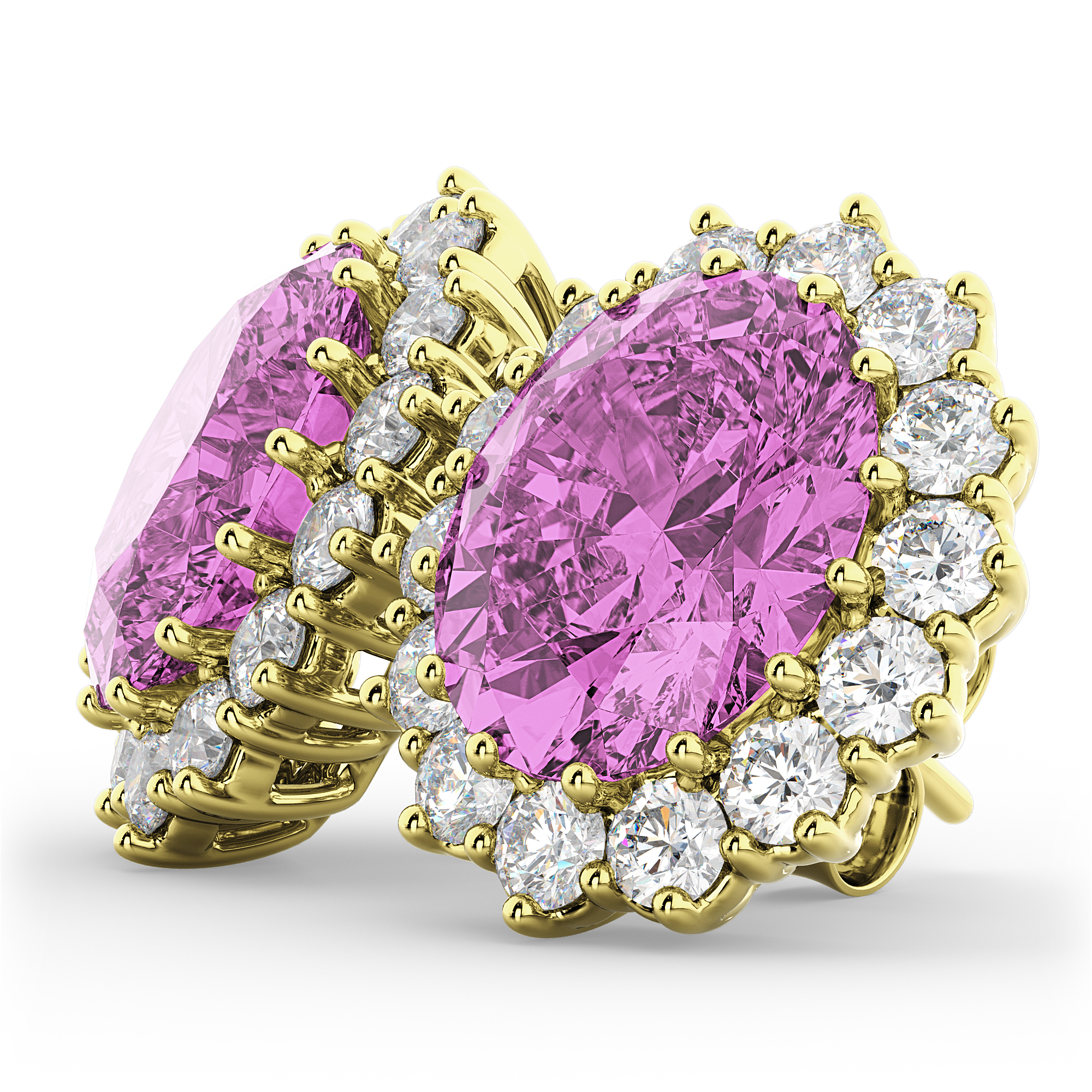Oval Pink Sapphire & Diamond Accented Earrings 14k Yellow ...
