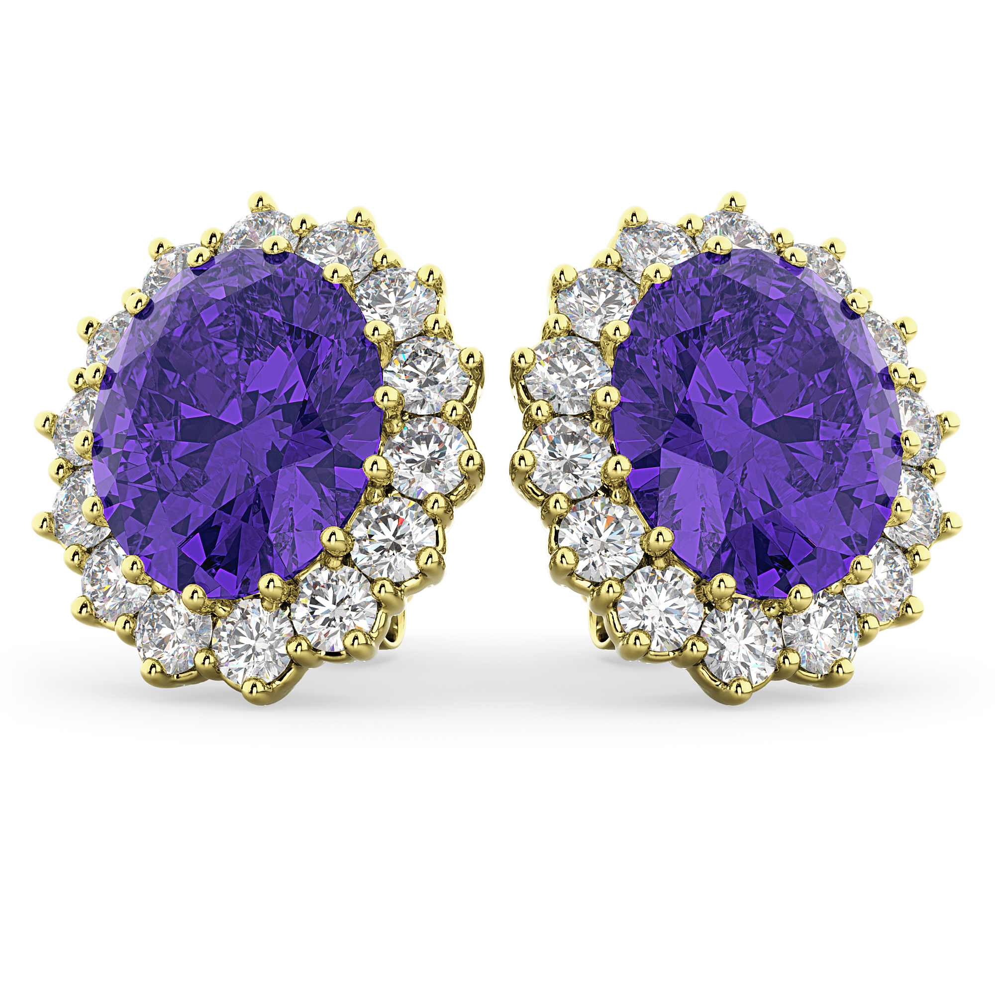 Oval Tanzanite & Diamond Accented Earrings 14k Yellow Gold (10.80ctw)