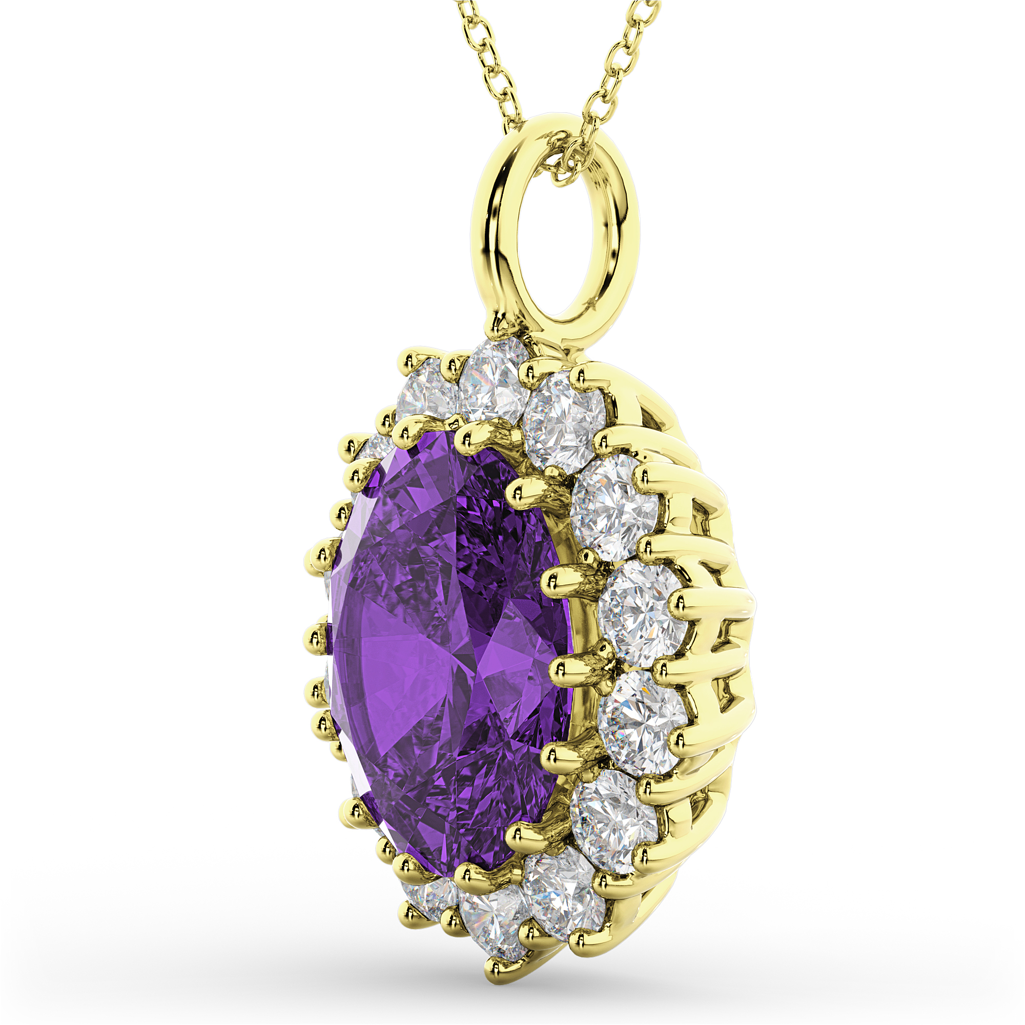 Oval Amethyst & Diamond Halo Pendant Necklace 14k Yellow ...