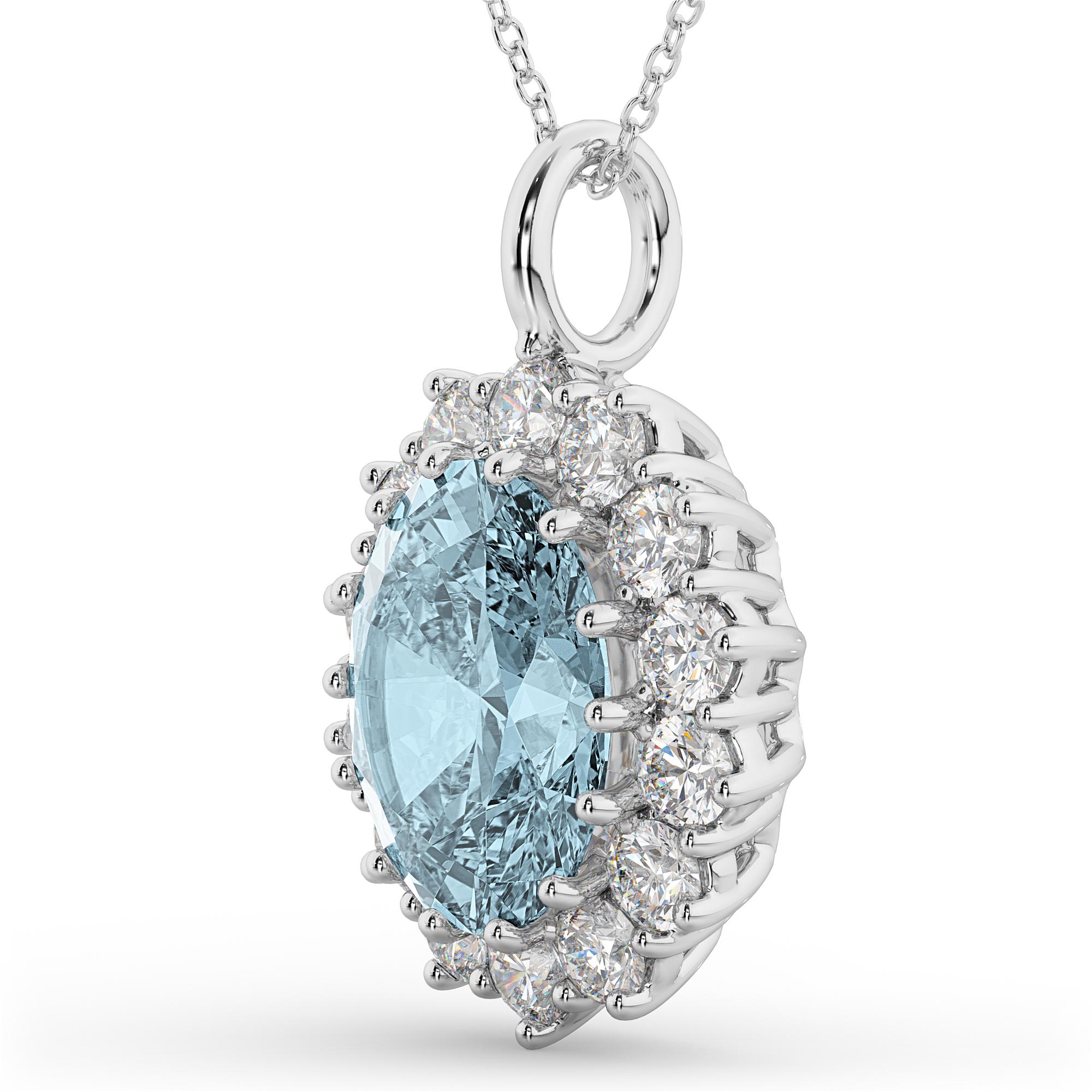 Aquamarine Necklaces: Oval Aquamarine & Diamond Halo Pendant Necklace 14k White