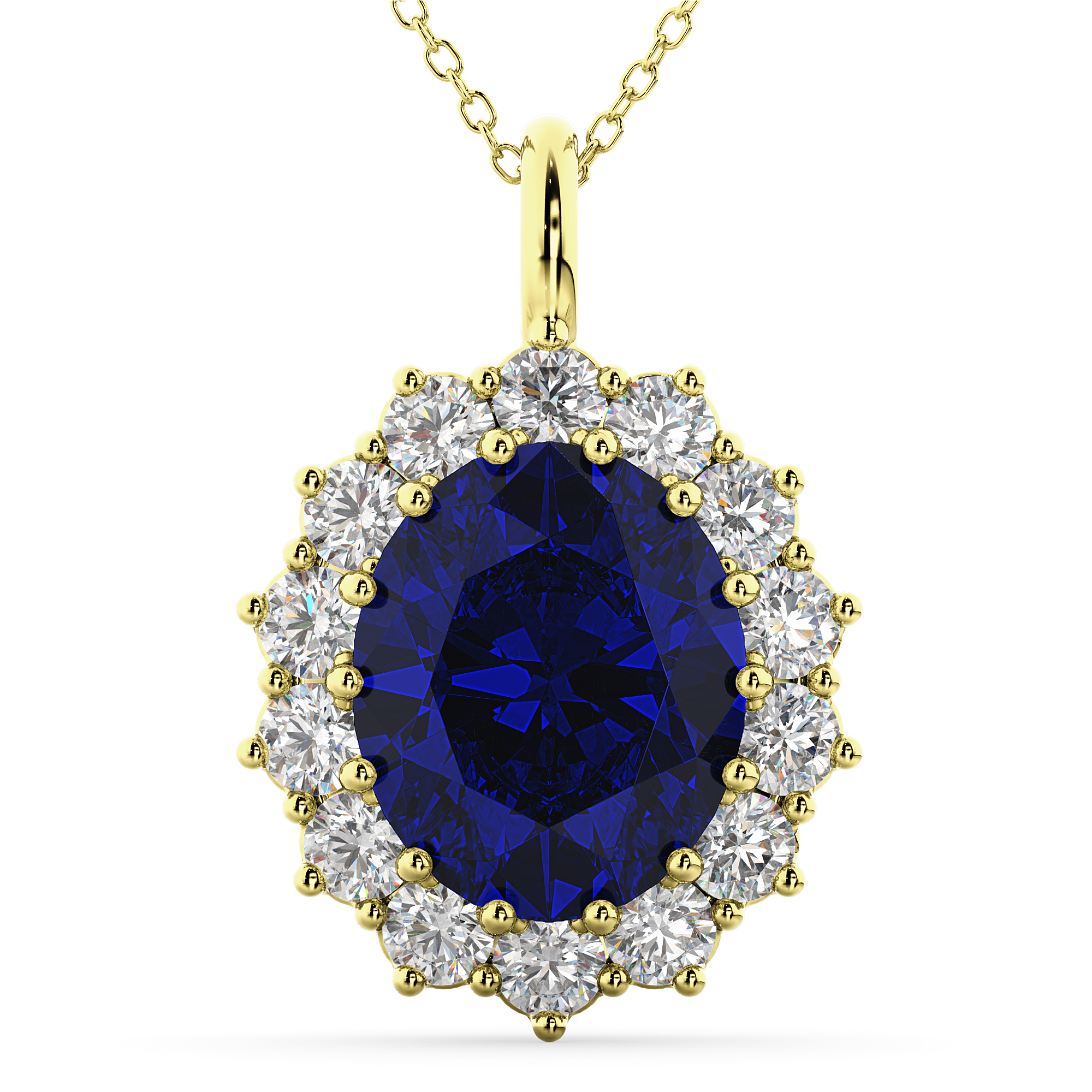 Oval Blue Sapphire Amp Diamond Halo Pendant Necklace 14k
