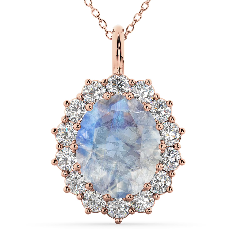 Oval Moonstone & Diamond Halo Pendant Necklace 14k Rose Gold (6.40ct)