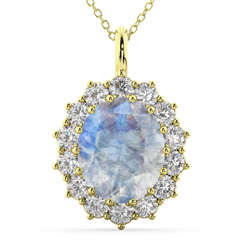 Oval Moonstone & Diamond Halo Pendant Necklace 14k Yellow Gold (6.40ct)