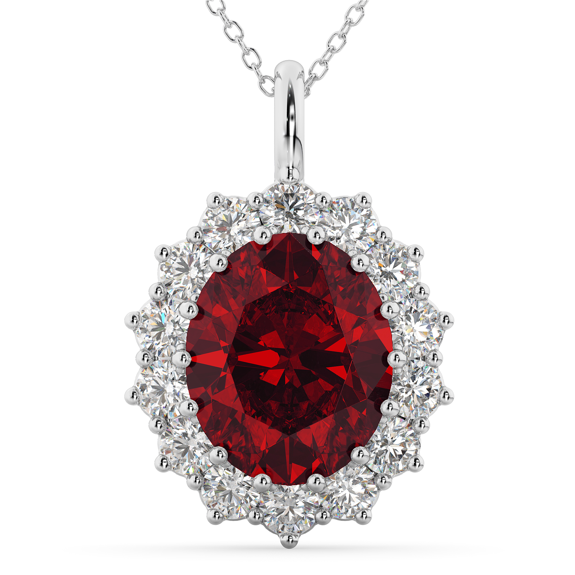 oval ruby halo pendant necklace 14k white gold 6