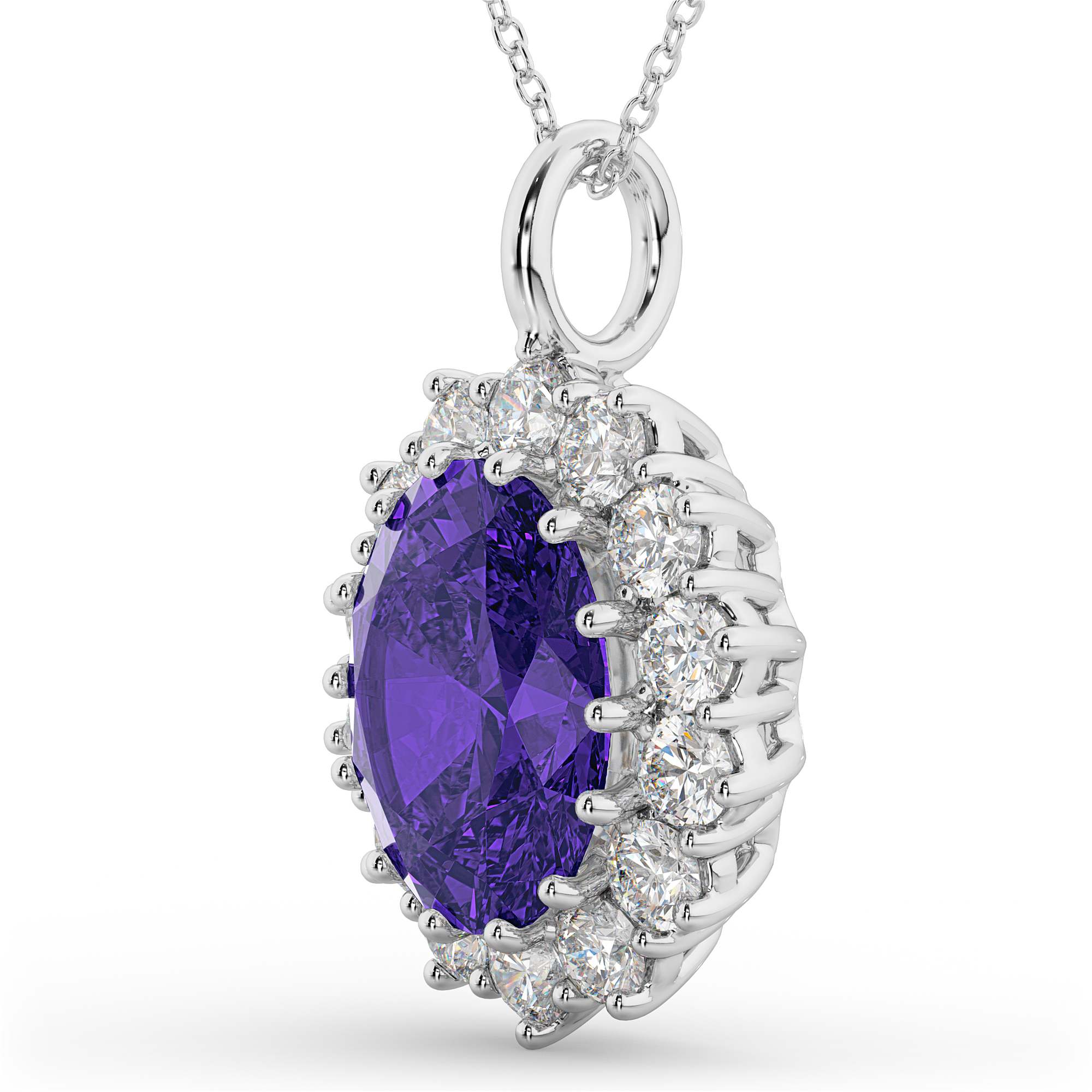 diamond product halo necklace wolf tanzanite pendant brothers and