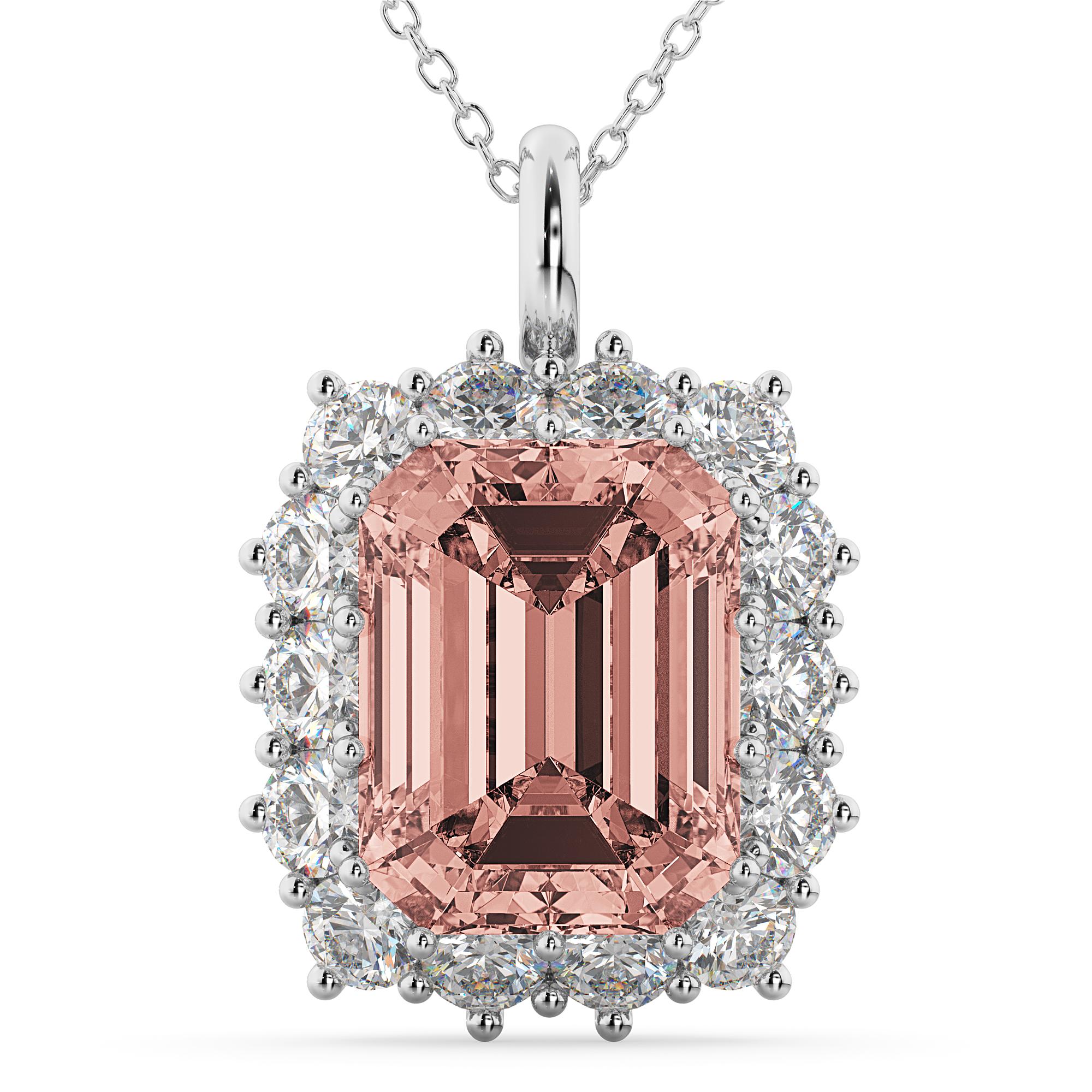 Emerald Cut Morganite Amp Diamond Pendant 14k White Gold 5 68ct