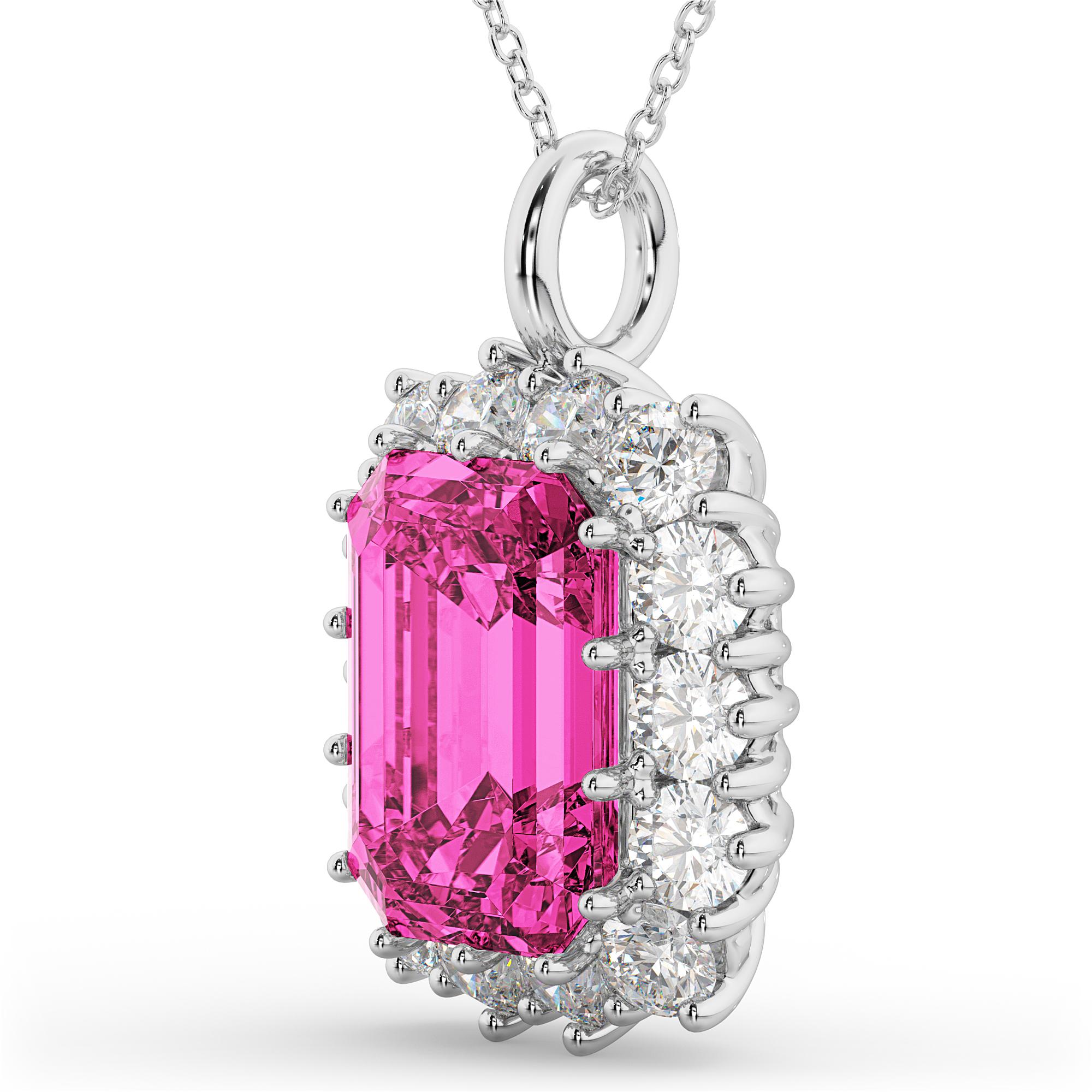 Emerald Cut Pink Tourmaline Amp Diamond Pendant 14k White