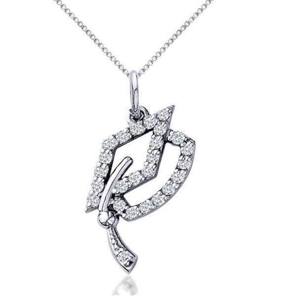 Diamond Graduation Cap Pendant Necklace 14k White Gold (0.13ct)