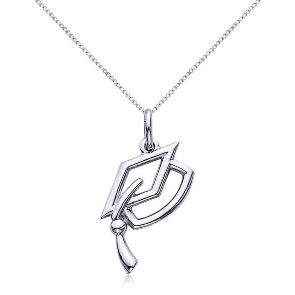 Graduation Cap Charm Pendant Necklace Plain Metal 14k White Gold