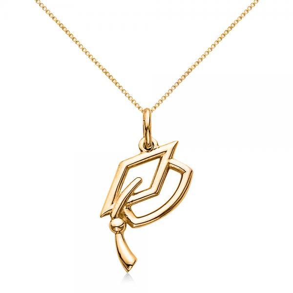 graduation cap charm pendant necklace plain metal 14k