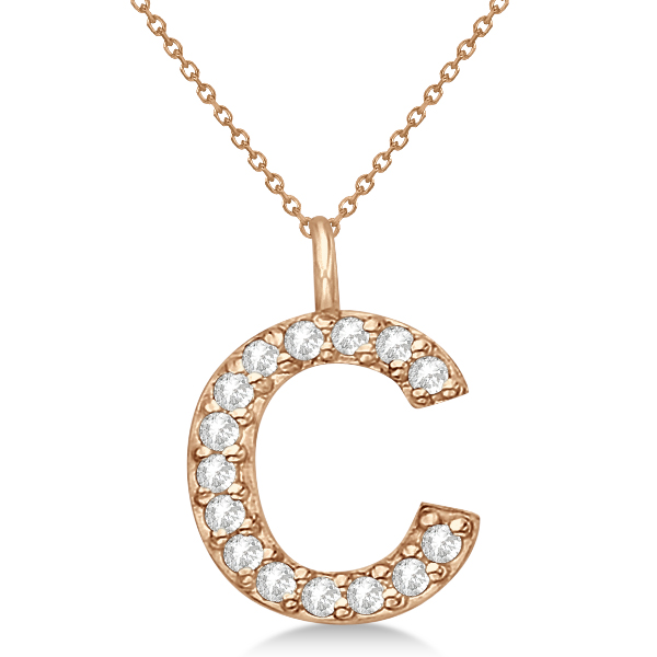 Customized Block-Letter Pave Diamond Initial Pendant in 14k Rose Gold