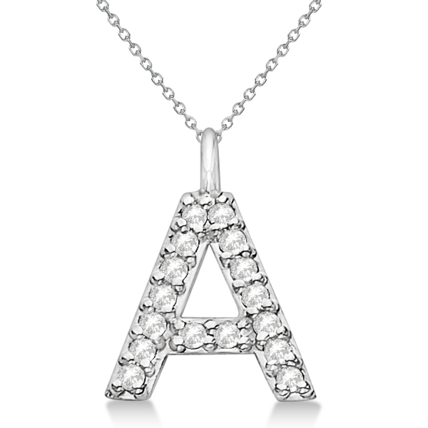 Customized Block-Letter Pave Diamond Initial Pendant in 14k White Gold