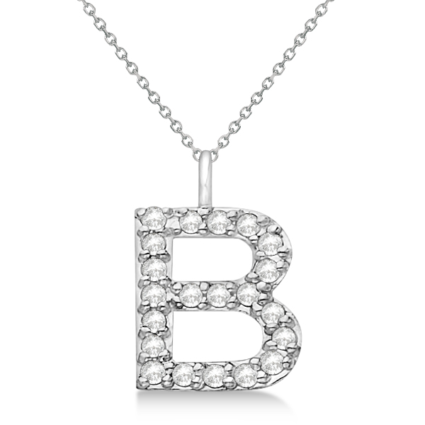 customized block letter pave initial pendant 14k