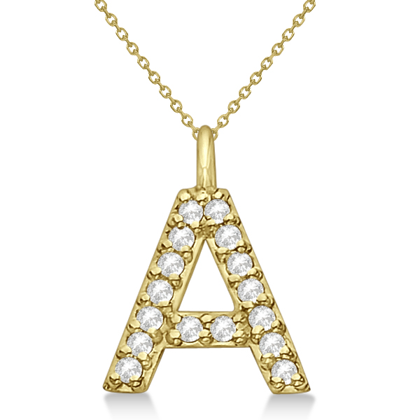 Customized Block-Letter Pave Diamond Initial Pendant in 14k Yellow Gold