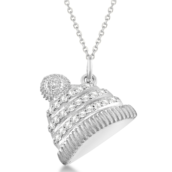 Diamond Winter Hat Pendant Necklace 14k White Gold (0.12ct)