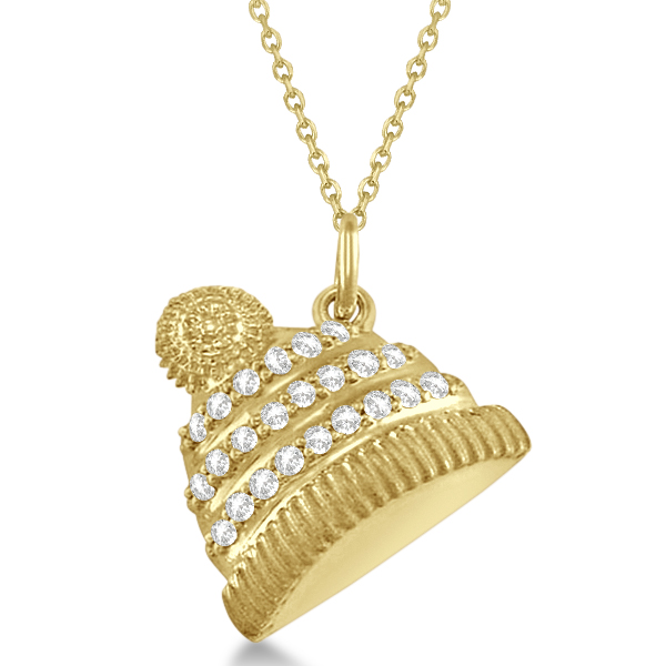 Diamond Winter Hat Pendant Necklace 14k Yellow Gold (0.12ct)