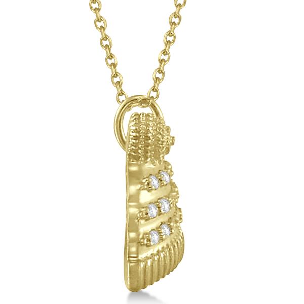 Diamond Winter Hat Pendant Necklace 14k Yellow Gold (0.12ct)