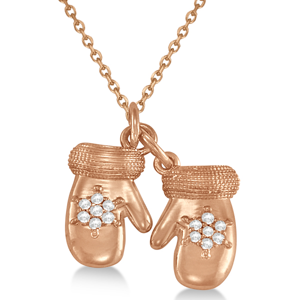 Mittens Pendant Necklace Diamond Snowflake 14k Rose Gold (0.07ct)
