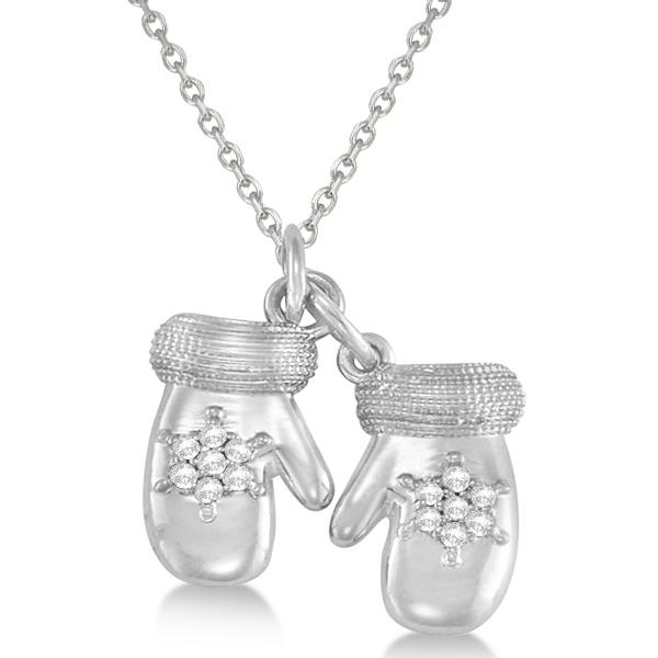 Mittens Pendant Necklace Diamond Snowflake 14k White Gold (0.07ct)