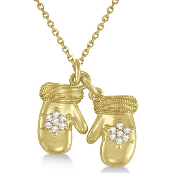 Mittens Pendant Necklace Diamond Snowflake14k Yellow Gold (0.07ct)