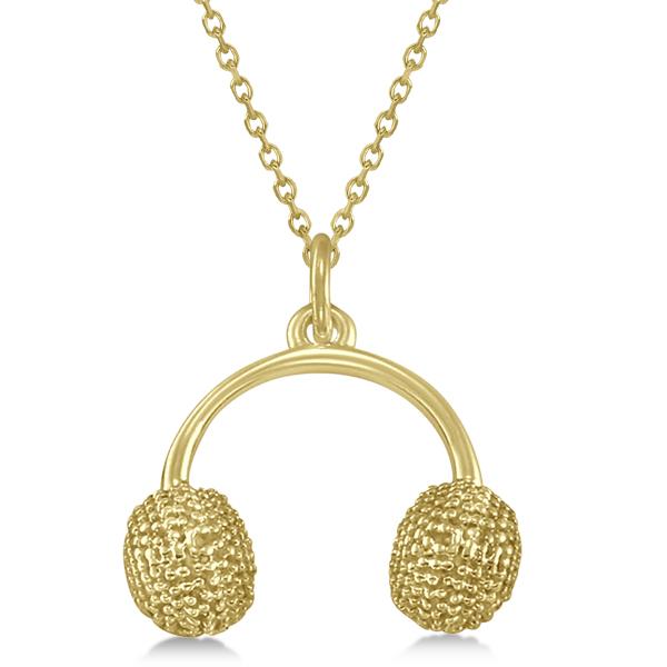 Earmuffs Pendant Necklace Plain Metal 14k Yellow Gold
