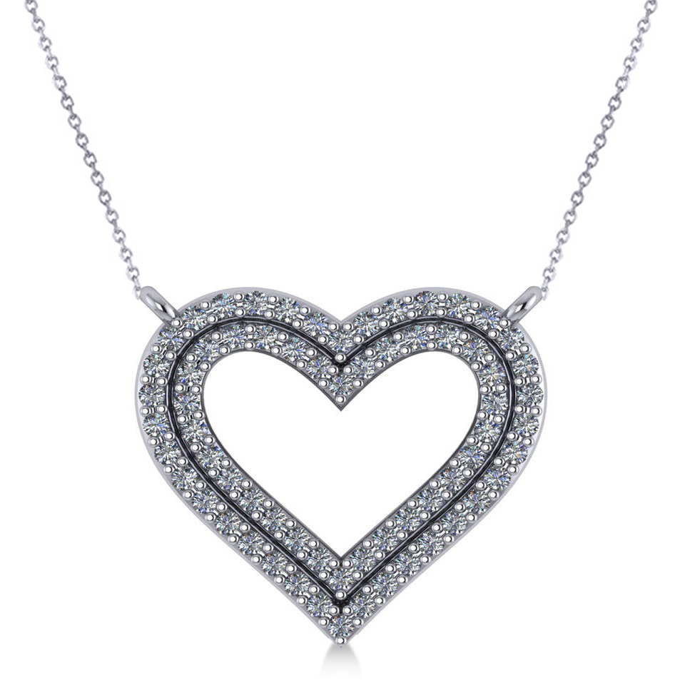 Double Row Open Heart Diamond Pendant Necklace 14k White Gold (0.66ct)