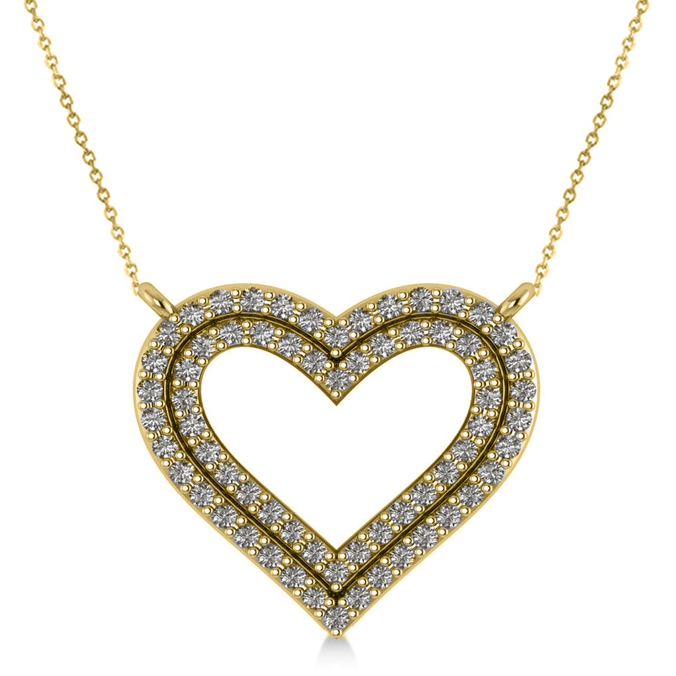 Double Row Open Heart Diamond Pendant Necklace 14k Yellow Gold (0.66ct)