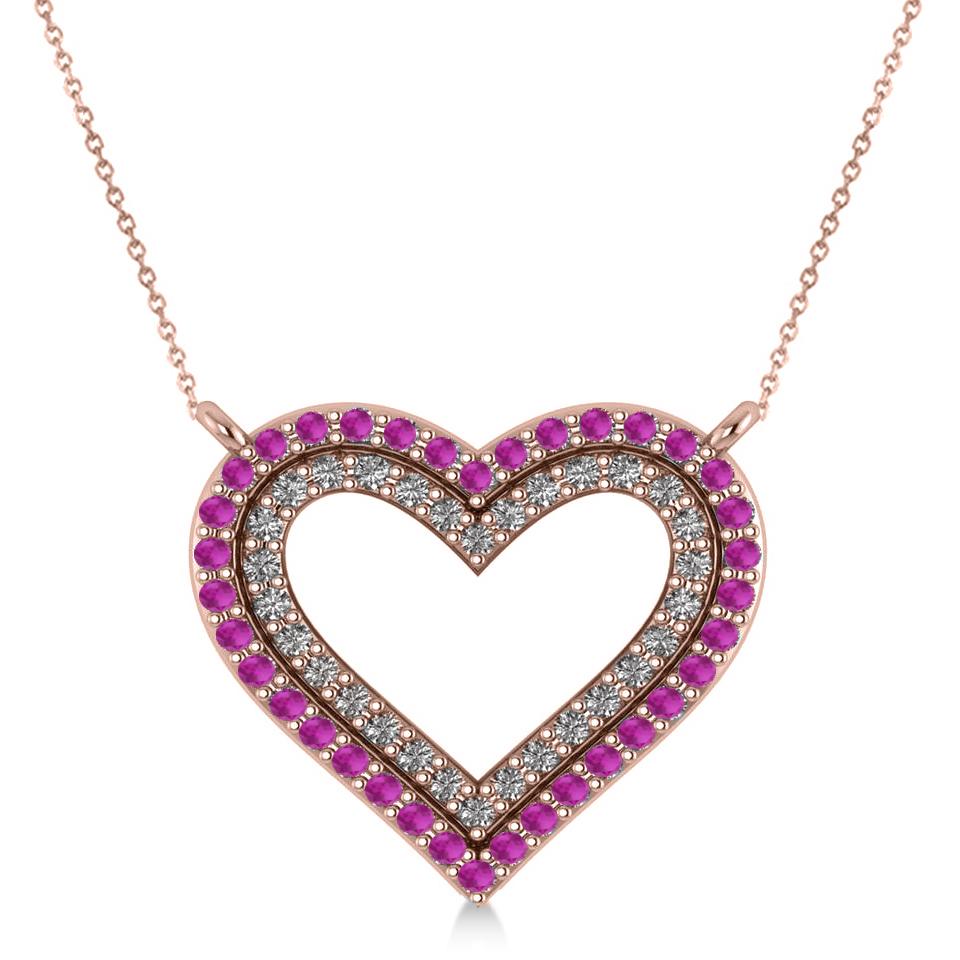 Double Open Heart Diamond & Pink Sapphire Pendant 14k Rose Gold (0.66ct)