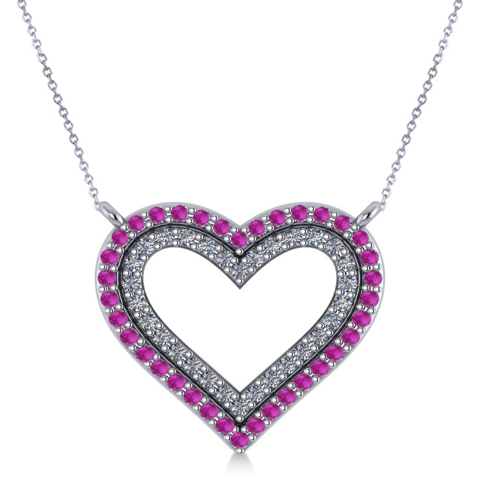 Double Open Heart Diamond & Pink Sapphire Pendant 14k White Gold (0.66ct)