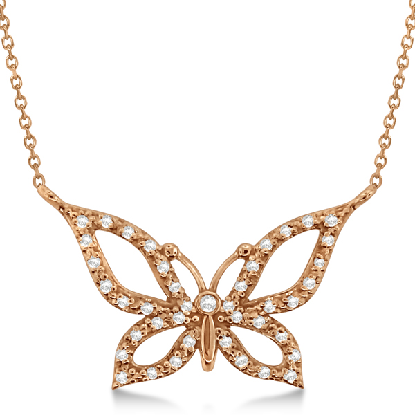 Diamond Butterfly Pendant Necklace 14k Rose Gold (0.21ctw)