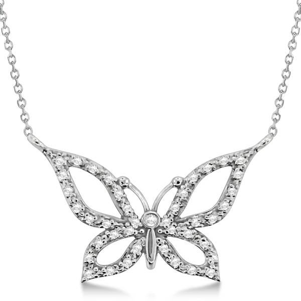 Diamond Butterfly Pendant Necklace 14k White Gold (0.21ctw)