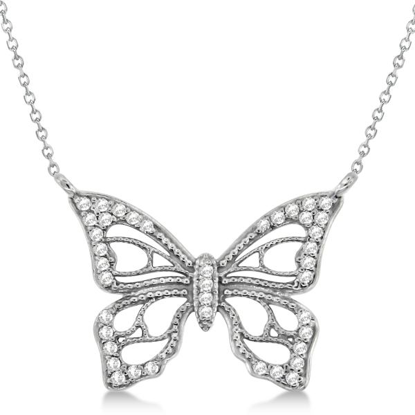 Diamond Monarch Butterfly Pendant Necklace 14k White Gold 0.20ctw