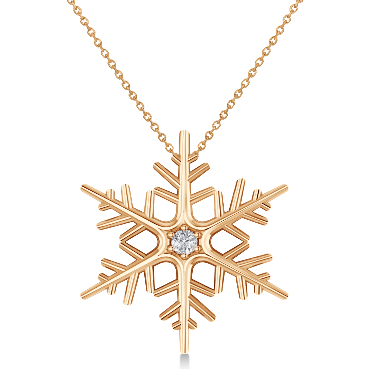 Diamond Wintertime Snowflake Pendant Necklace 14k Rose Gold (0.04ct)