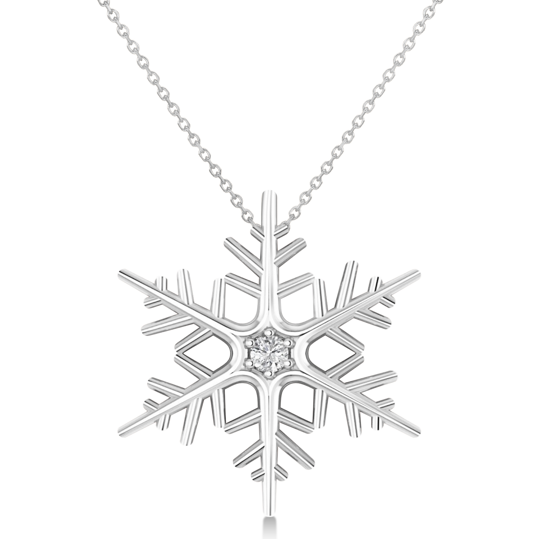 Diamond Wintertime Snowflake Pendant Necklace 14k White Gold (0.04ct)