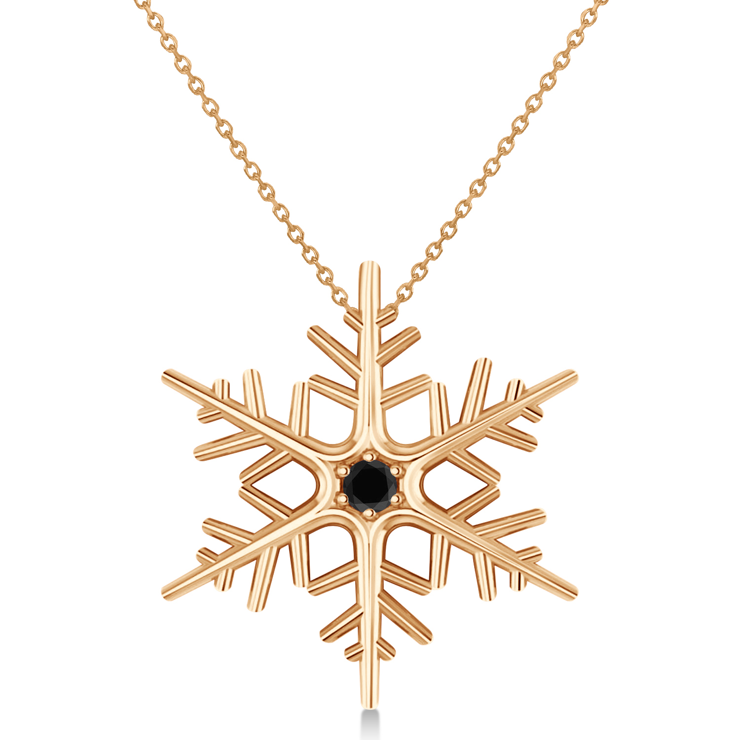 Black Diamond Winter Snowflake Pendant Necklace 14k Rose Gold (0.04ct)