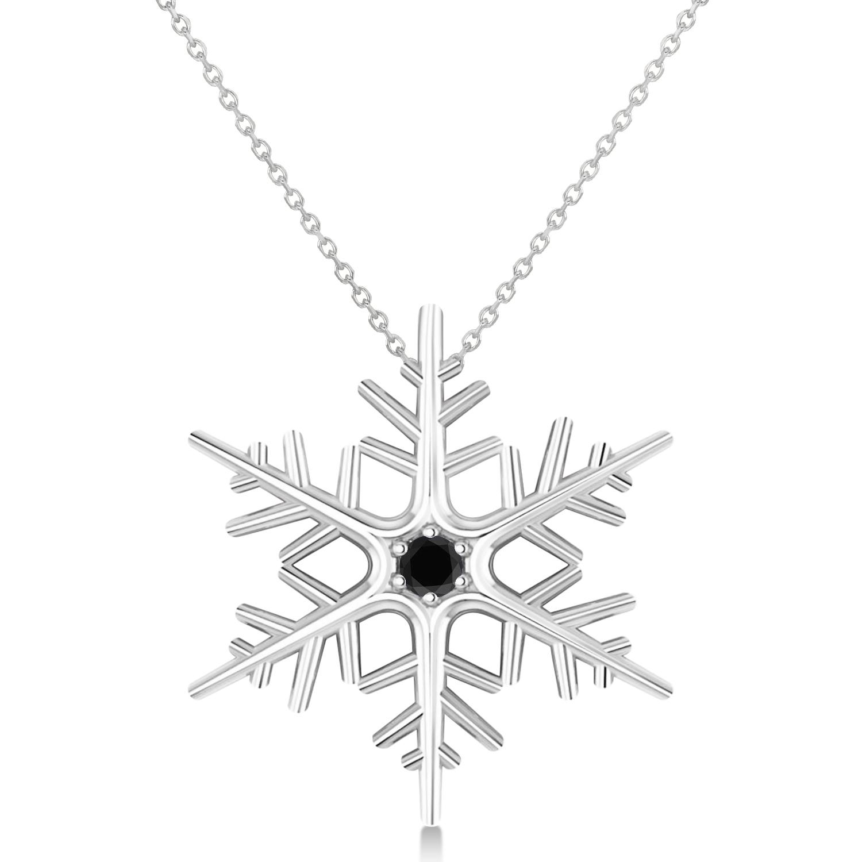 Black Diamond Winter Snowflake Pendant Necklace 14k White Gold (0.04ct)