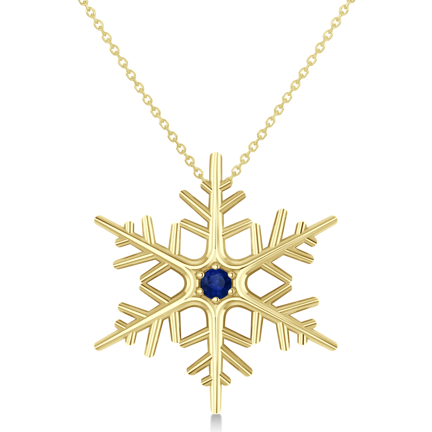 Blue Sapphire Winter Snowflake Pendant Necklace 14k Yellow Gold (0.04ct)
