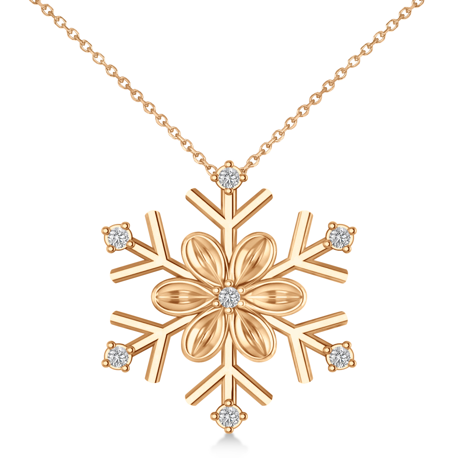 Diamond Snowflake & Flower Pendant Necklace 14k Rose Gold (0.07ct)