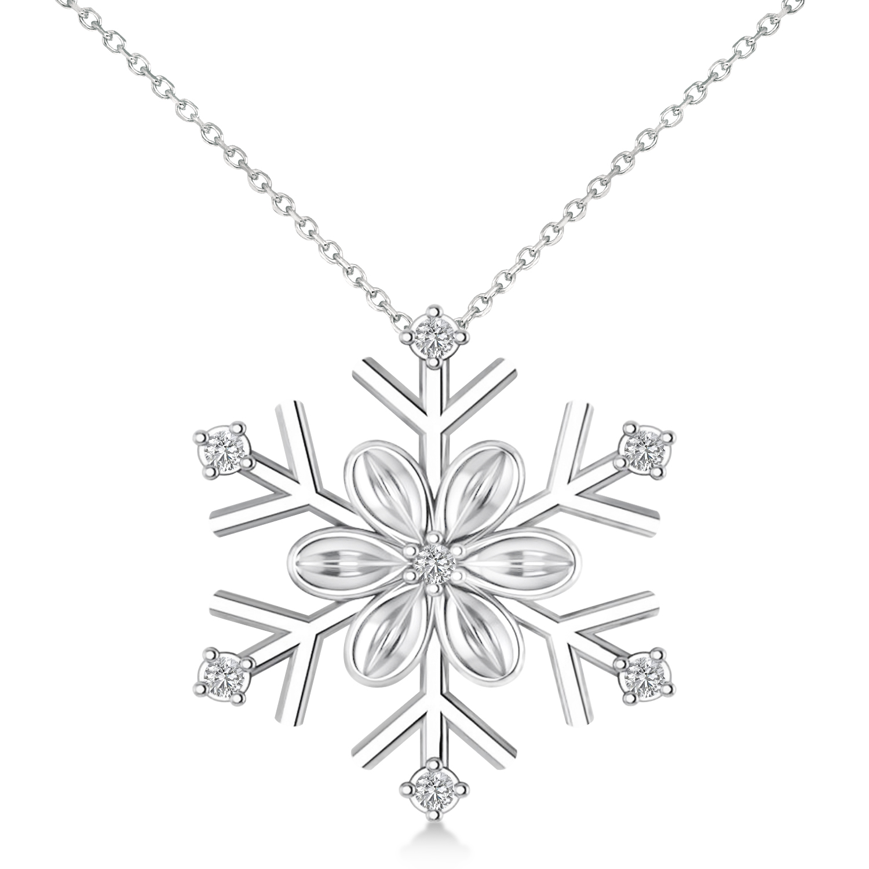 snowflake flower pendant necklace 14k white gold
