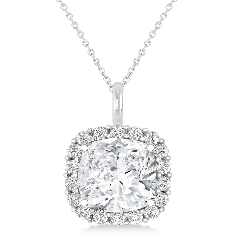 Cushion Cut Diamond Halo Pendant 14k White Gold (2.76ct)