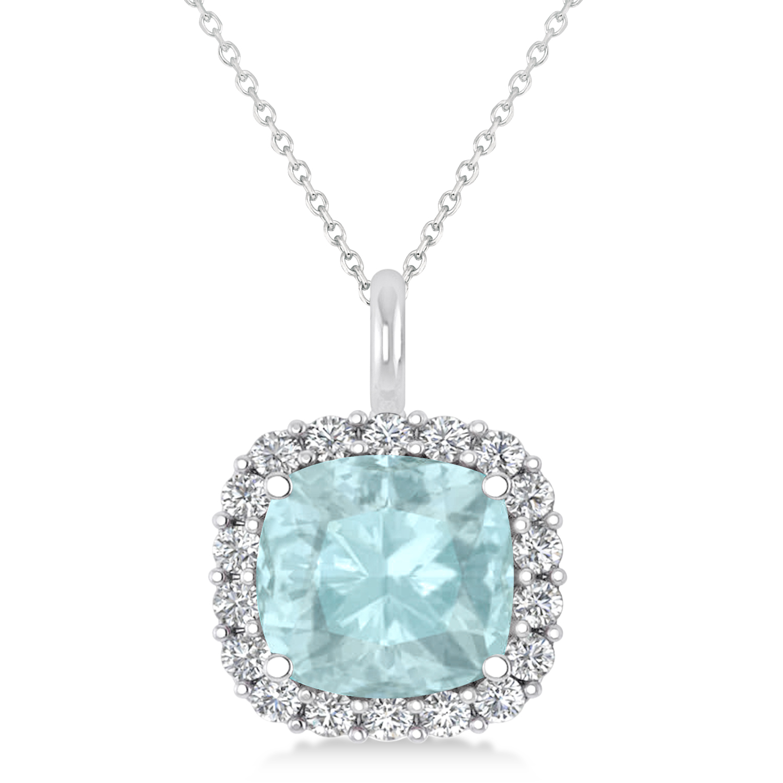 Cushion Cut Aquamarine & Diamond Halo Pendant 14k White Gold (2.96ct)