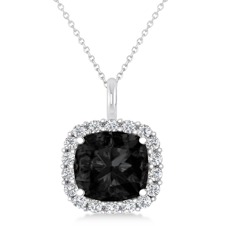 Cushion Cut Black & White Diamond Halo Pendant 14k White Gold (2.76ct)