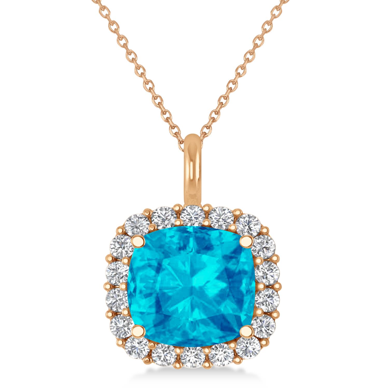 Cushion Cut Blue Topaz & Diamond Halo Pendant 14k Rose Gold (2.96ct)