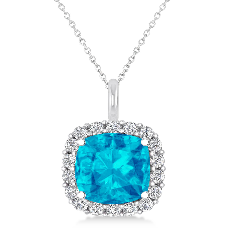 Cushion Cut Blue Topaz & Diamond Halo Pendant 14k White Gold (2.96ct)