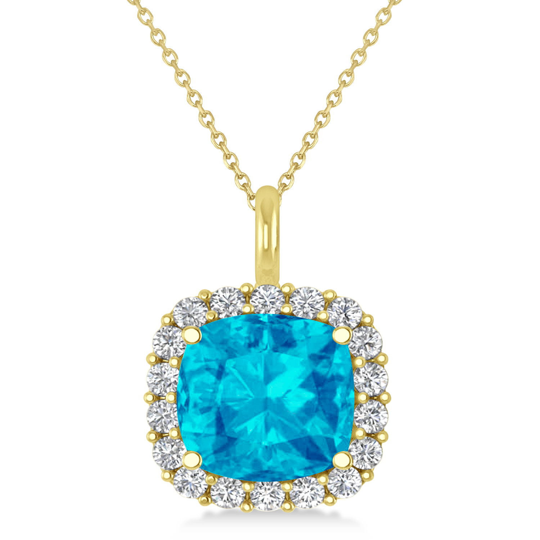 Cushion Cut Blue Topaz & Diamond Halo Pendant 14k Yellow Gold (2.96ct)