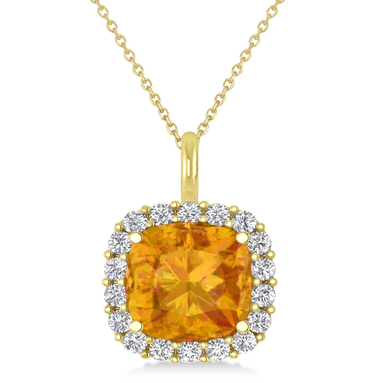 Cushion Cut Citrine & Diamond Halo Pendant 14k Yellow Gold (2.96ct)